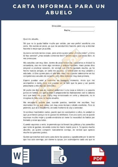 Descargar modelo de Carta Informal para enviar a un abuelo o ser querido