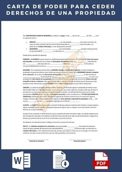 carta de poder para ceder derechos de una propiedad