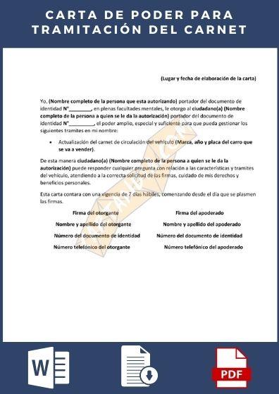 carta de poder para tramitar el carnet