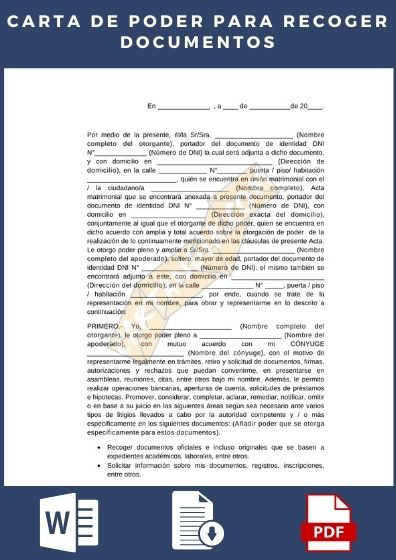 carta de poder para recoger documentos