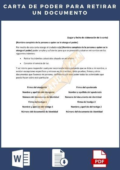 carta de poder para retirar documentos