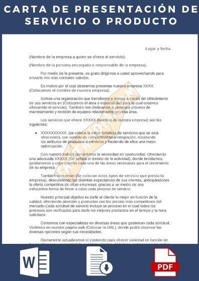 Carta de presentación de servicio o producto