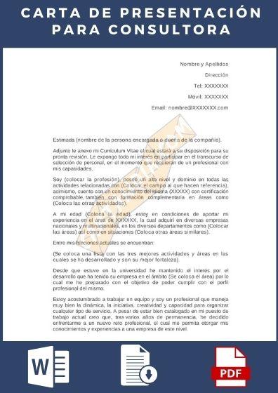 Carta de presentación para consultora de empleo