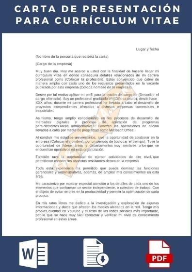 Carta de presentación para acompañar al curriculum vitae