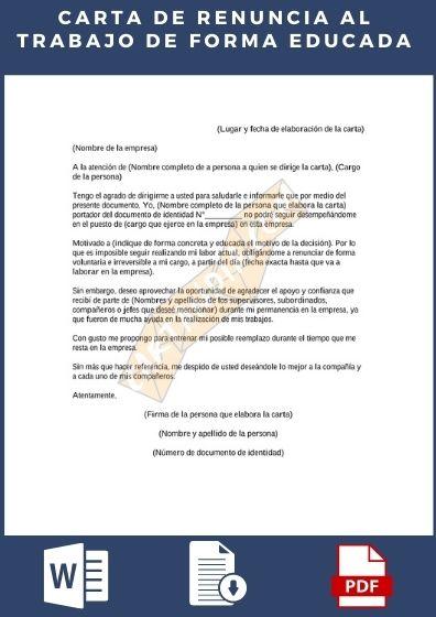 Carta de renuncia de forma educada