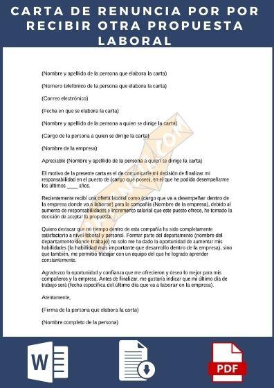 Carta de renuncia por otra propuesta laboral