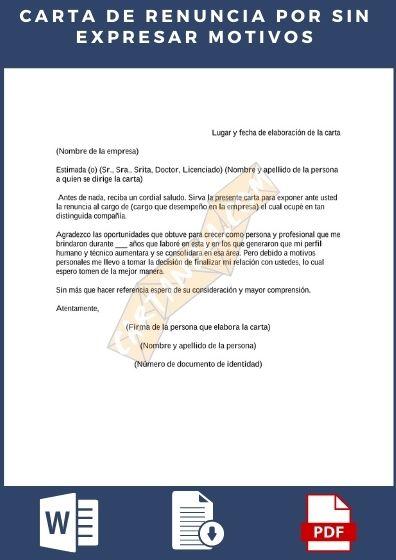 Carta de renuncia sin expresar motivos