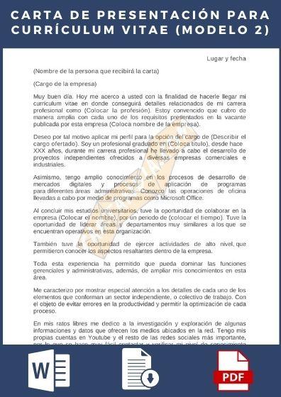 Descargar Ejemplo de Carta de presentación para Currículum Vitae