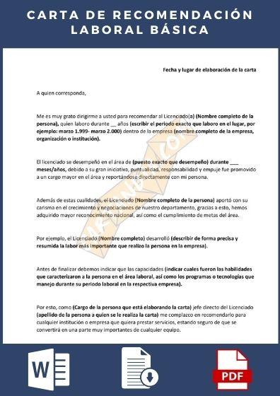 Carta de Recomendación Laboral basica