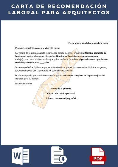 Carta de recomendación laboral arquitectos