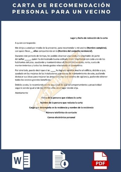 Carta de recomendación personal para un vecino