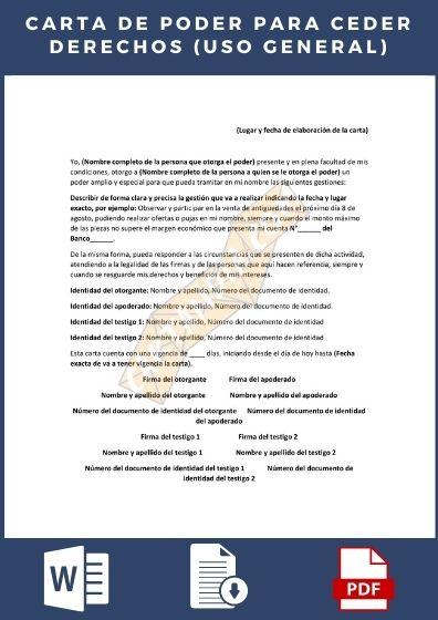carta de poder para ceder derechos