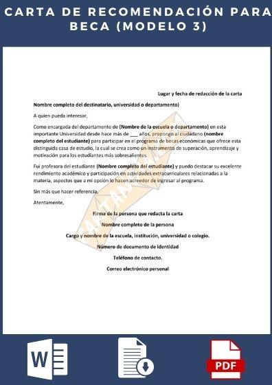 carta de Recomendación para Beca Modelo 3