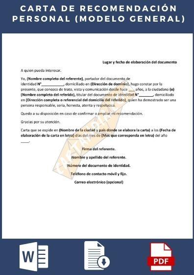 Carta de recomendación personal general