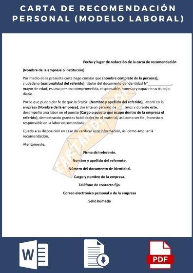 Carta de recomendación personal laboral