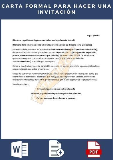 Carta formal para hacer una invitacion