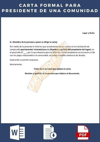 Carta formal para el presidente de la comunidad