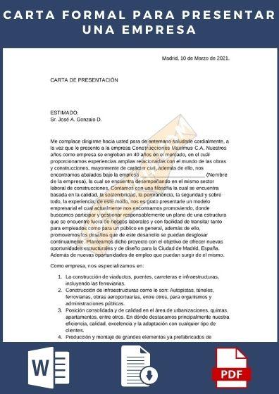 Carta formal para presentar una empresa