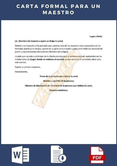 Carta formal para un maestro