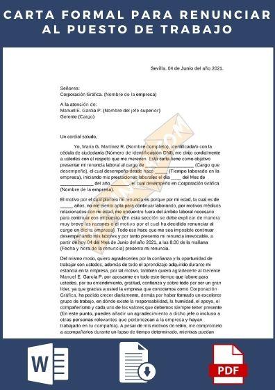 Carta formal para renunciar al puesto de trabajo