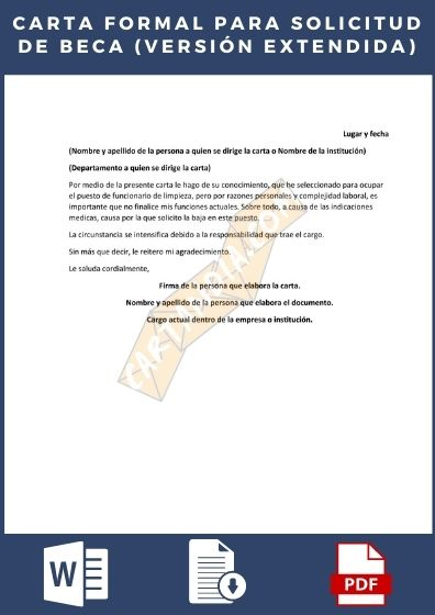 Carta formal para solicitudes de beca