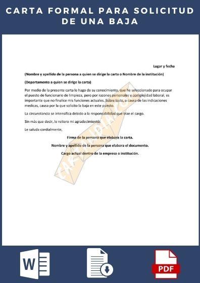 Carta formal para solicitar una baja