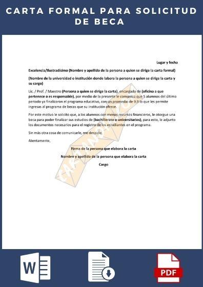 Descargar el ejemplo de Carta Formal (simplificada) para la solicitud de una beca