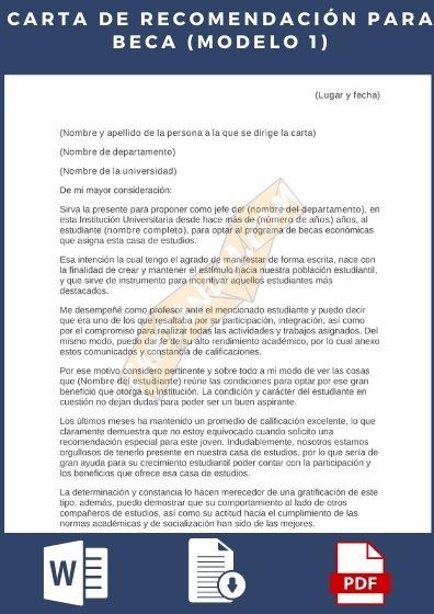 carta de Recomendación para Beca Modelo 1