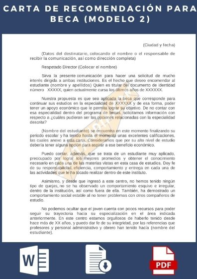 carta de Recomendación para Beca Modelo 2