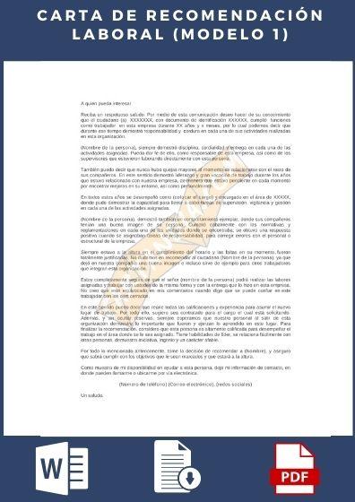 Carta de recomendación laboral ejemplo 1
