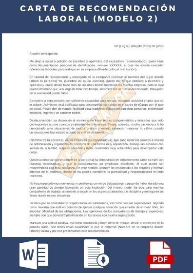 Carta de recomendación laboral ejemplo 2