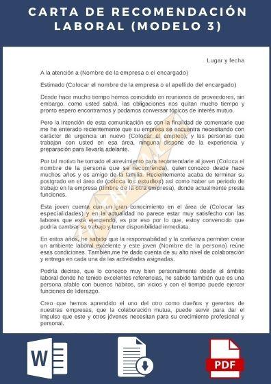 Carta de recomendación laboral ejemplo 3
